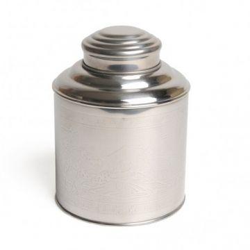 Blikje voor thee, roestvrij staal, Ø 11,5 cm
