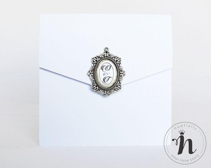"""Invitatii nunta de lux, elegante, cu rama argintie si cristale Rhinestone – """"OFELIA"""""""