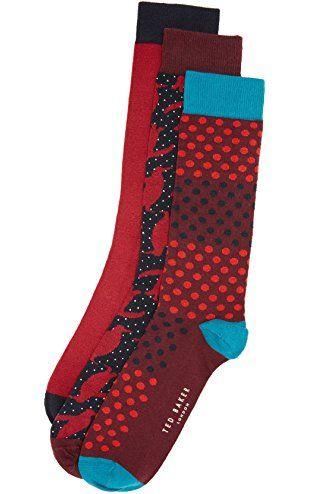 Ted Baker Men's 3 Pack Socks, Red, One Size ❤ Ted Baker
