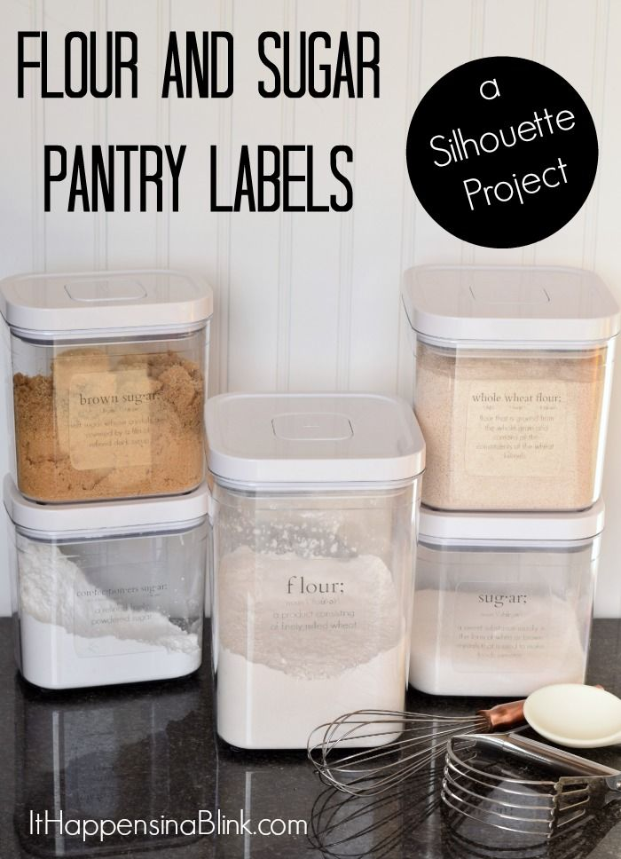 flour and sugar pantry organization labels  a silhouette project