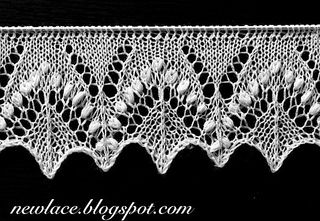 "Pattern of the edge lace motives ""Silvia"" is inspired by the traditional stitch motif ""Silvia"" which is enriched with great amount of nupps. The edge lace is forming a zigzag edge with changing textures."