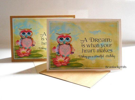 Happy Birthday Dream Owl Kraft or Shimmery Ivory by Beauladigitals