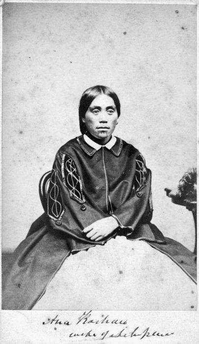 Portrait of Ana Kaihau, wife of Ahipene Kaihau, taken, probably in the 1860s, by an unknown photographer.