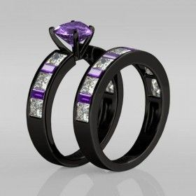 Heart Cut Amethyst with Amethyst Sidestone Rhodium Plating Sterling Silver Women's Engagement Ring / Wedding Ring Set