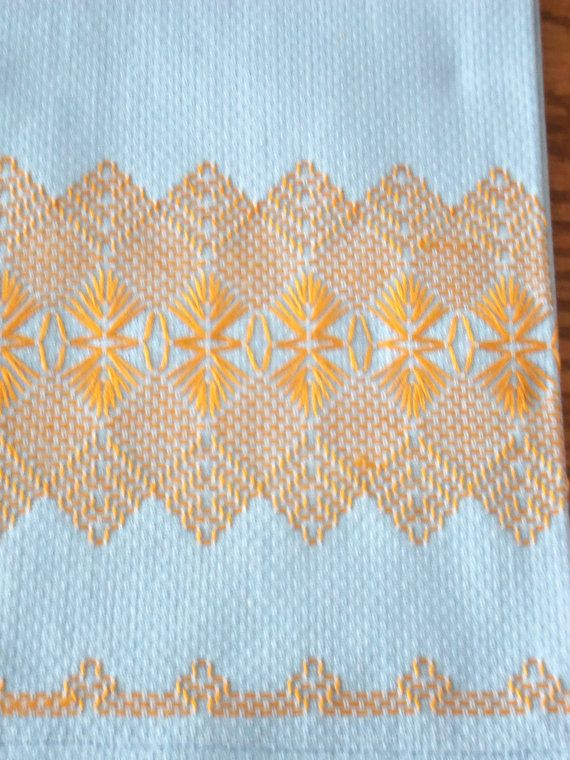 2 Vintage Swedish Huck Weaving Hand Towels, Bargello Design, Orange on Blue Huck…