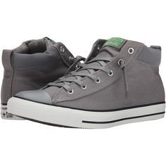 Converse Chuck Taylor All Star Street Mid Shoes, Gray ($51) ❤ liked on Polyvore featuring shoes, sneakers, grey, rubber shoes, lace up shoes, converse shoes, metallic sneakers and laced shoes