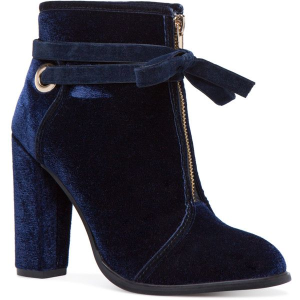 ShoeDazzle Booties Lexi Velvet Bootie Womens Blue ❤ liked on Polyvore featuring shoes, boots, ankle booties, blue, booties, short boots, blue bootie, blue boots, ankle boots and blue velvet booties