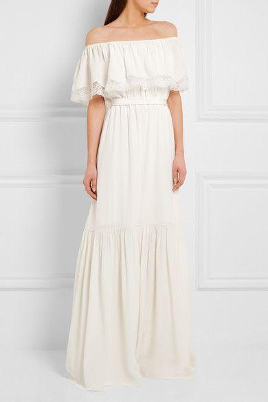 Best Temperley London Felicity Off the shoulder Lace trimmed Silk Crepe De Chine Gown Ivory UK