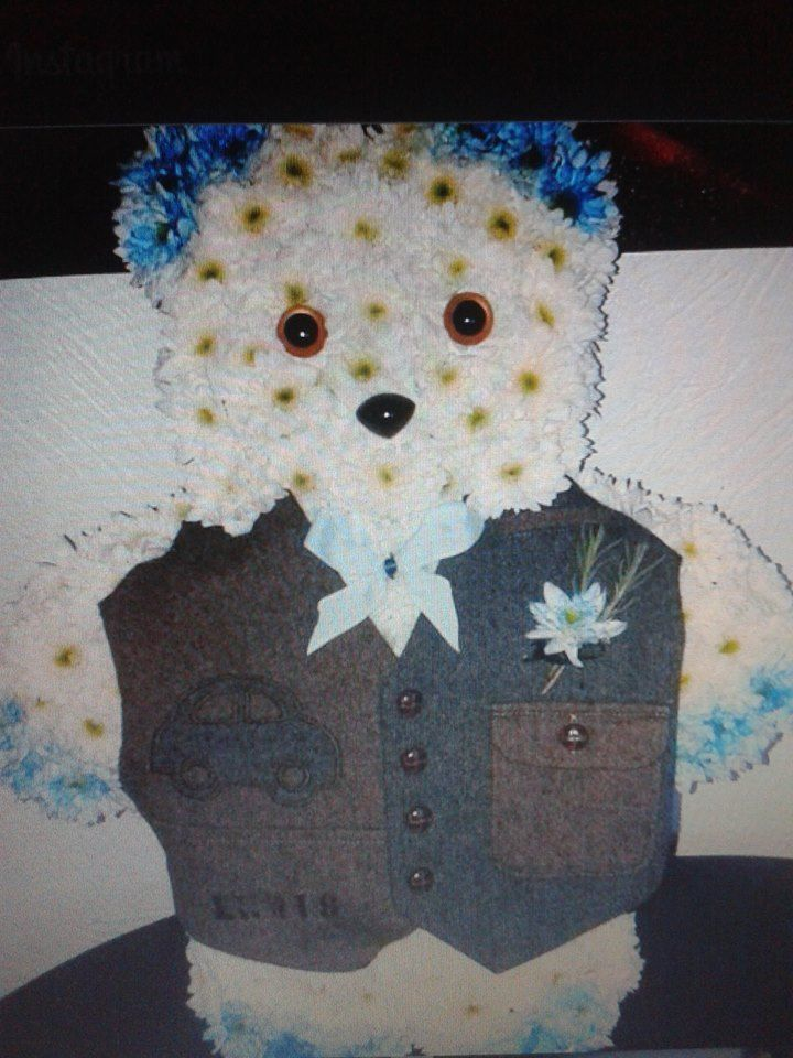 teddy floral tribute,made for a friends grandson.