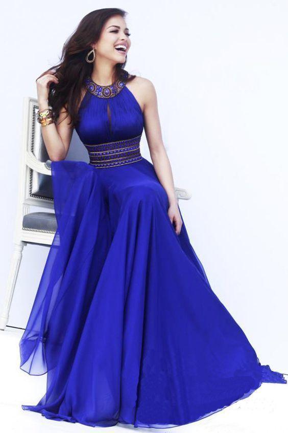 Evening dress A Line chiffon long royal blue gown beading open back dress custom made Party Dresses