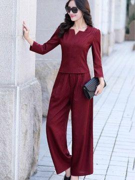 Solid Color V-Neck Women Pant Suit