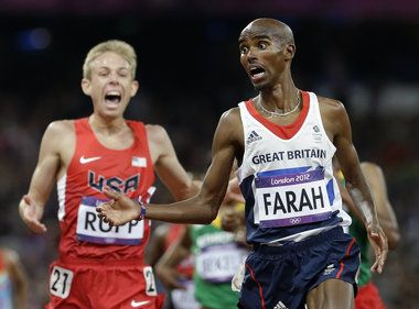 Great Britain's Mo Farah wins Gold and his best friend and training partner, American Galen Rupp wins Silver in the 10,000m race.