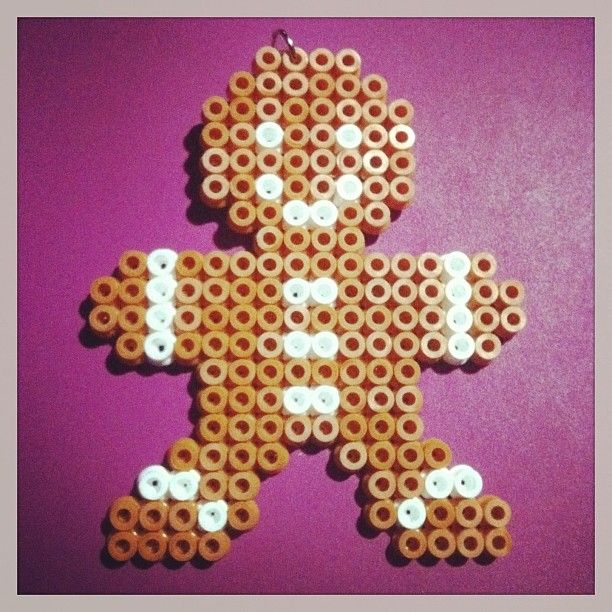 Christmas Gingerbread Man perler beads by funwithbeadz