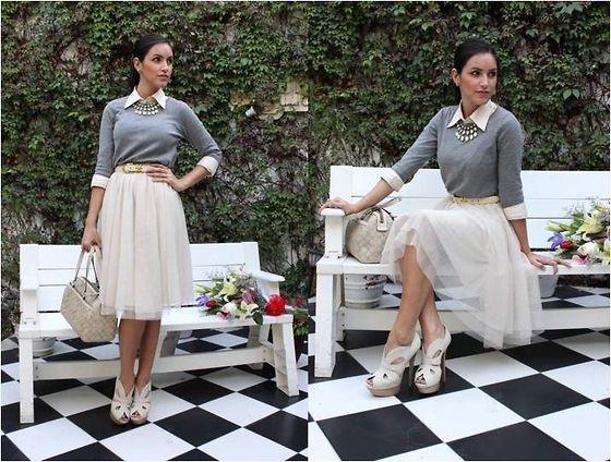 Zara Sweater, H&M Tulle Full Skirt, Coach Tote Bag, Lacoste Button Shirt, Vintage Waist Belt, Fendi Snake Skin Platforms