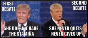 The best jokes, tweets and memes reacting to the second presidential debate between Donald Trump and Hillary Clinton.: First Debate vs. Second Debate