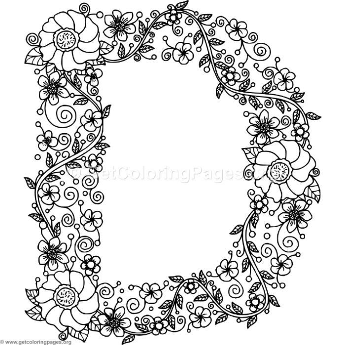 Download this for Free Floral Alphabet Letter D Coloring