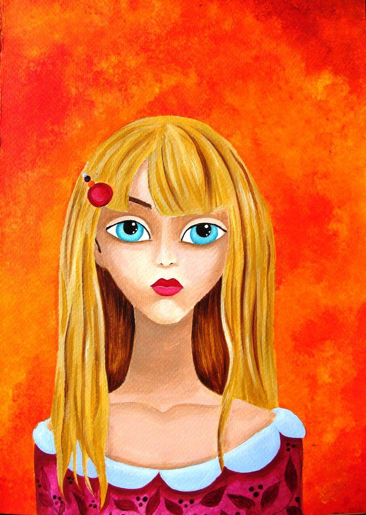 girl, manga, orange, big eyes,