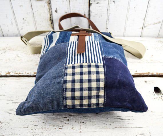 PATCHWORK bolso Tote Textiles antiguos Kelsch 1800 cáñamo lino