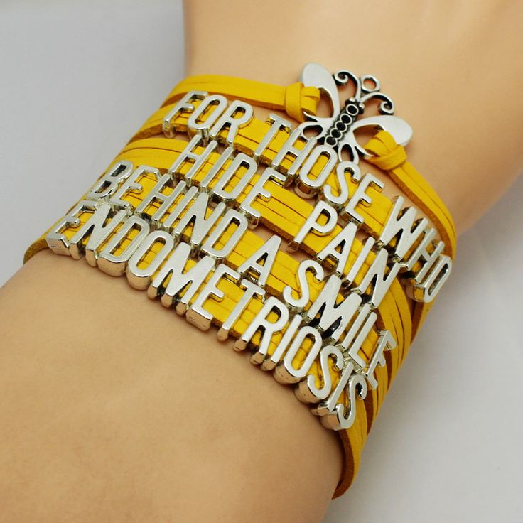 """""""For Those Who Hide Pain Behind A Smile"""" Yellow Endometriosis Awareness Bracelet. You will get the same bracelet as the pictures, and the charms are antique silver, this is a very good choice to give"""