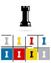 Шахматная ладья значок или шахматы ладья знак.  Вектор шахматы ладья пиктограмма или символ ладья шахматы