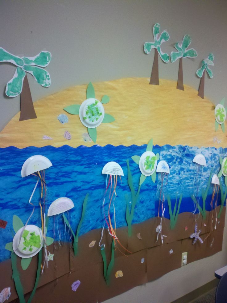 We did something like this... We took a big piece of paper and fingerprinted the ocean on it. As the week went on and we learned about different ocean animals, we would make the animal and stick it on the ocean until we had a big sea of animals!