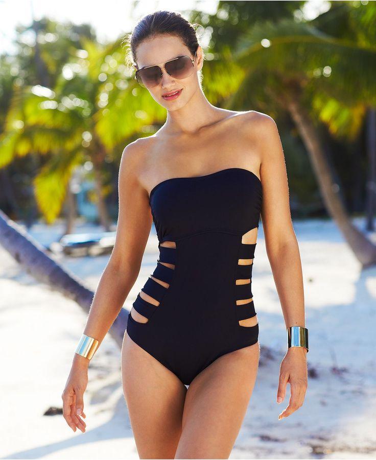Kenneth Cole Reaction Swimsuit, Bandeau Cutout One-Piece - Womens Swimwear