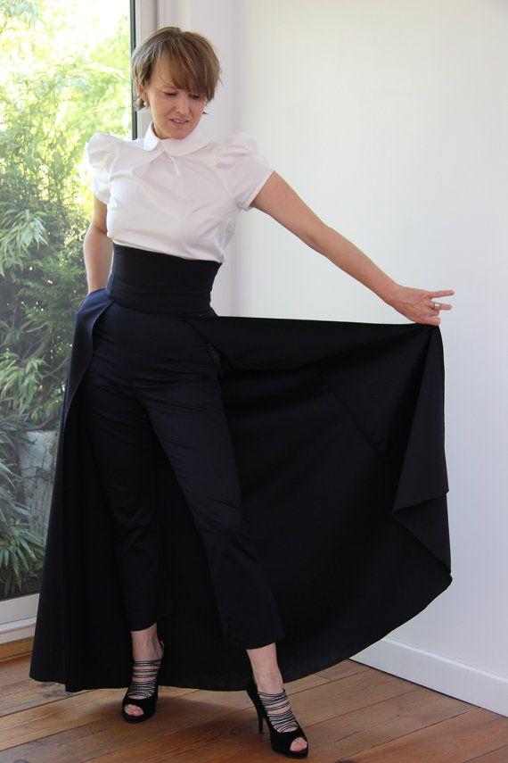 Navy maxi skirt maxi skirt with pockets high by JolyDagmara