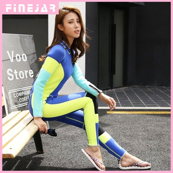 Hisea New arrival women's 3mm professional diving wetsuit With long sleeve one piece Snorkeling Surfing wetsuit #Affiliate