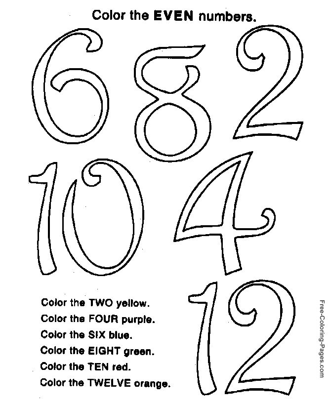 Preschool child activity pages - Even numbers
