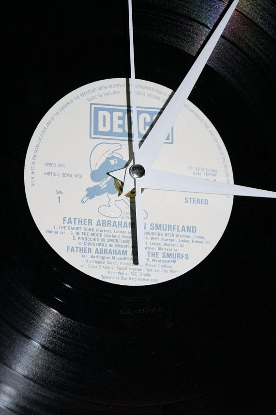 The Smurfs Vintage Vinyl Wall Clock Retro Clock Clock Unusual Clocks