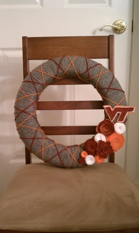 Virginia Tech Hokie yarn wreath!  going on my door during football season!