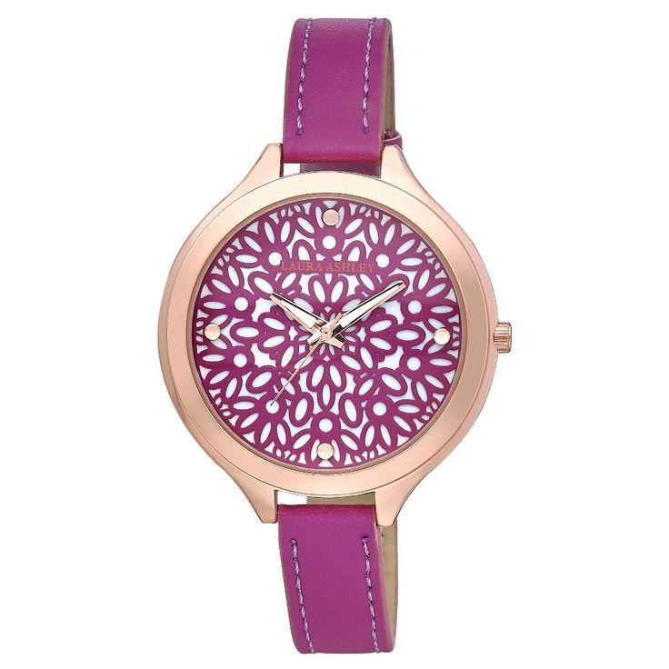 Laura Ashley Slim Band Geo Pattern Dial Watch - Pink/ Rose Gold, Women's, Pink/Rose Gold