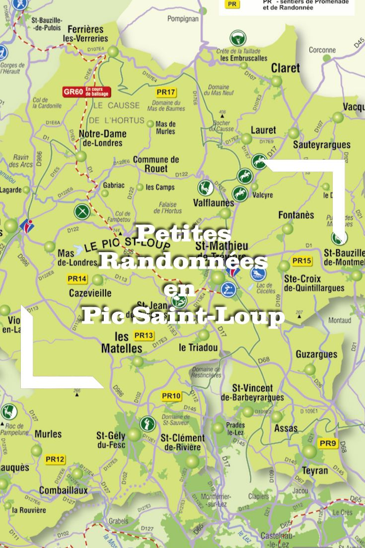Découvrez les sentiers de Petites Randonnées (PR) en Grand Pic Saint-Loup. Document © OTGPSL