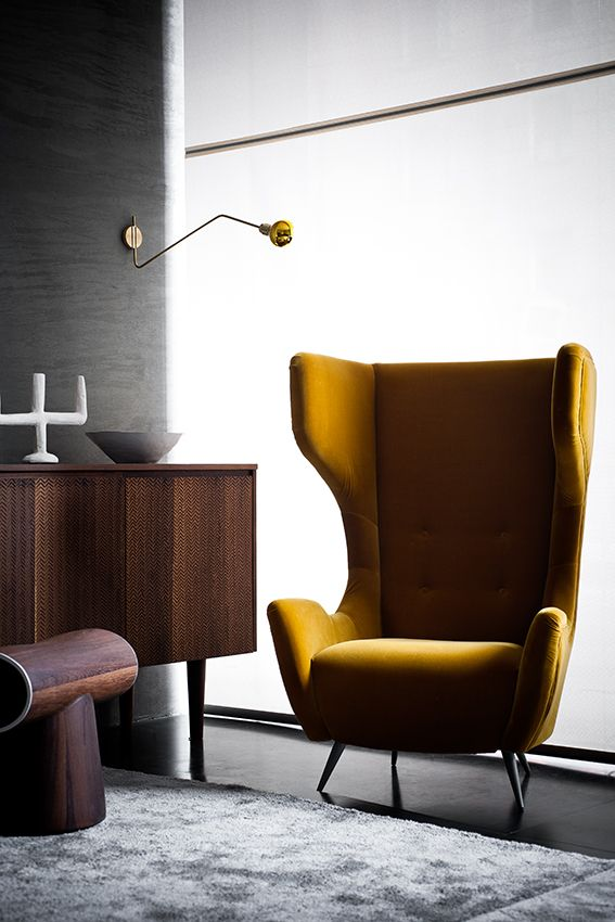Like the Mustard yellow wingback chair- don't know how durable it would be though.
