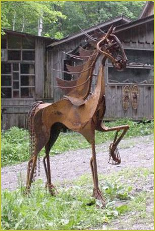 LooSee Art - Chainsaw and Metal Sculptures Liberty: Horse sculpture. 6 feet tall. Created from found objects.