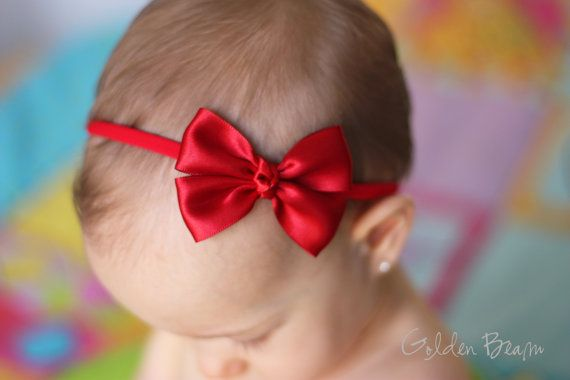Baby Red Bow - Red Like a Butterfly Satin Bow Baby Handmade Headband