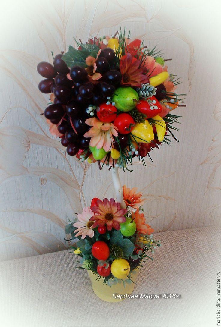 """Купить Топиарий цветочно-фруктовый """"Летнее изобилие"""" - комбинированный, топиарий, топиарий дерево счастья"""