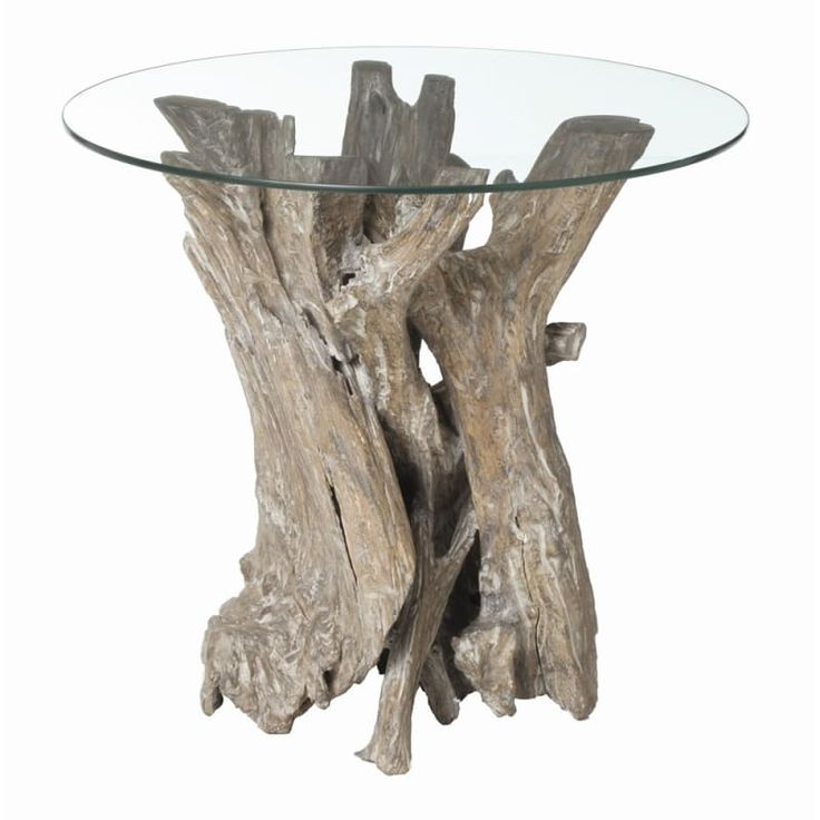 Arteriors 5406 Nantucket 22 Inch Diameter Glass Top End Table Driftwood Furniture Tables End Tables