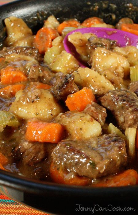 Beef Stew recipe from Jenny Jones (JennyCanCook.com) - Simple, old fashioned beef stew with fork-tender meat - easy, healthy recipe. See my How-To video at: www.JennyCanCook.com