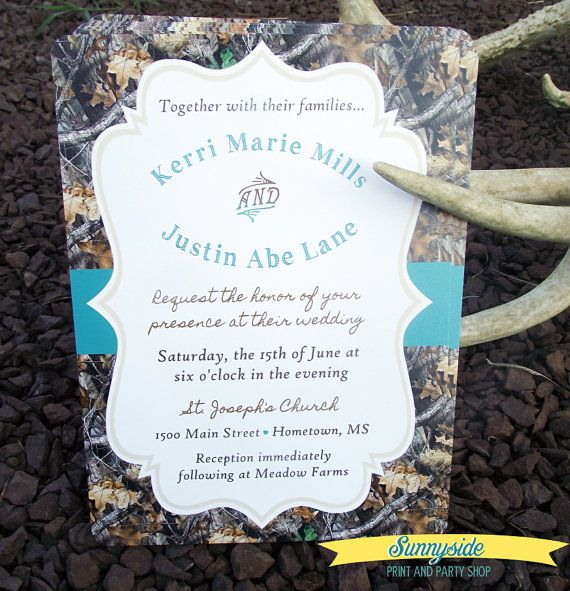 Camouflage / Hunt Is Over Printed Wedding Invitation Package - Duck Dynasty inspired!
