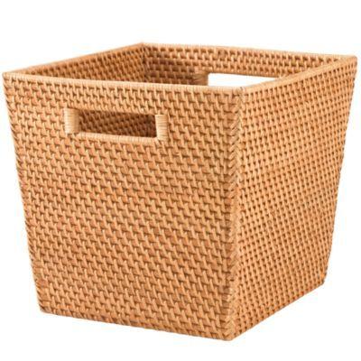 "Rattan I Am Cube Basket (Honey)  | The Land of Nod 12""W x 11""D x 10.25""H $29.50"
