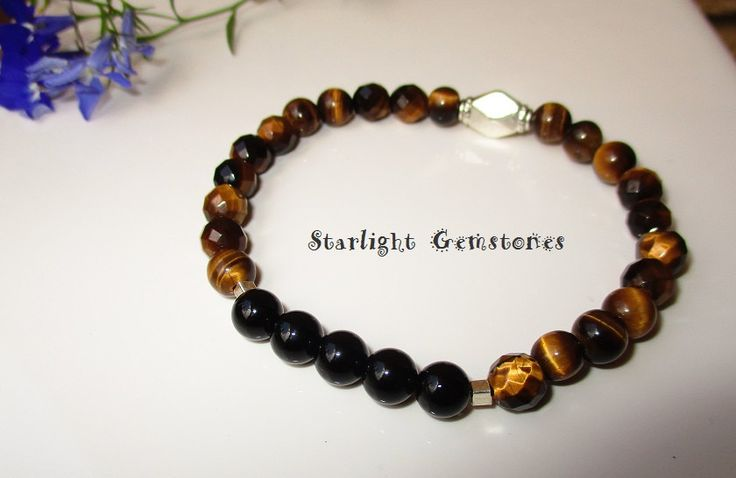 Tigers Eye and Obsidian Gemstone beads with Hill Tribe Sterling Silver Spacers Stretch Bracelet by StarlightGemstones on Etsy
