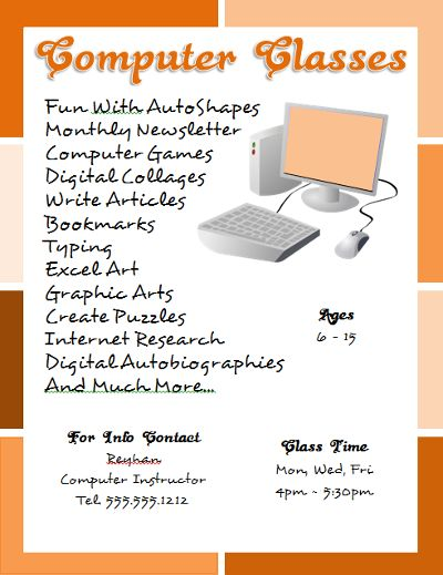 computer classes flyer template created with microsoft