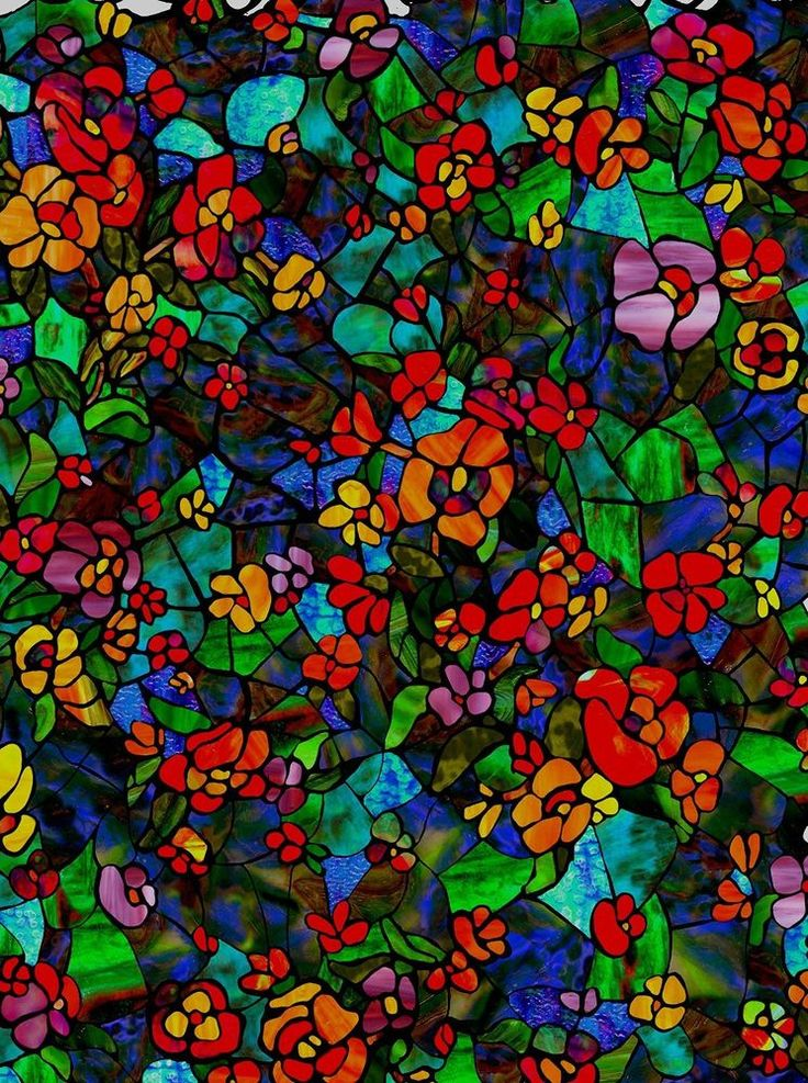 Stained Glass Effect Venetian Garden Vinyl Window Film