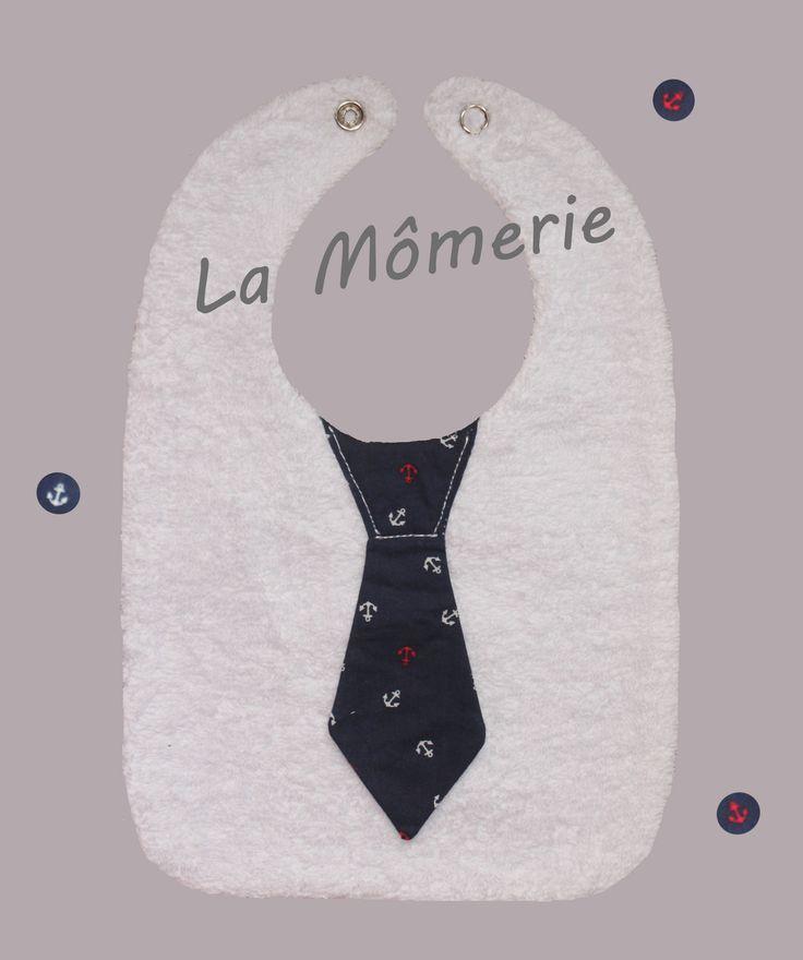 Bavoir bébé chic cravate marine : Mode Bébé par la-momerie