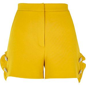 Yellow frill faux pearl shorts