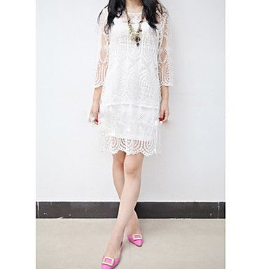 Women's Lace Embroidery Midi Dress – USD $ 17.49