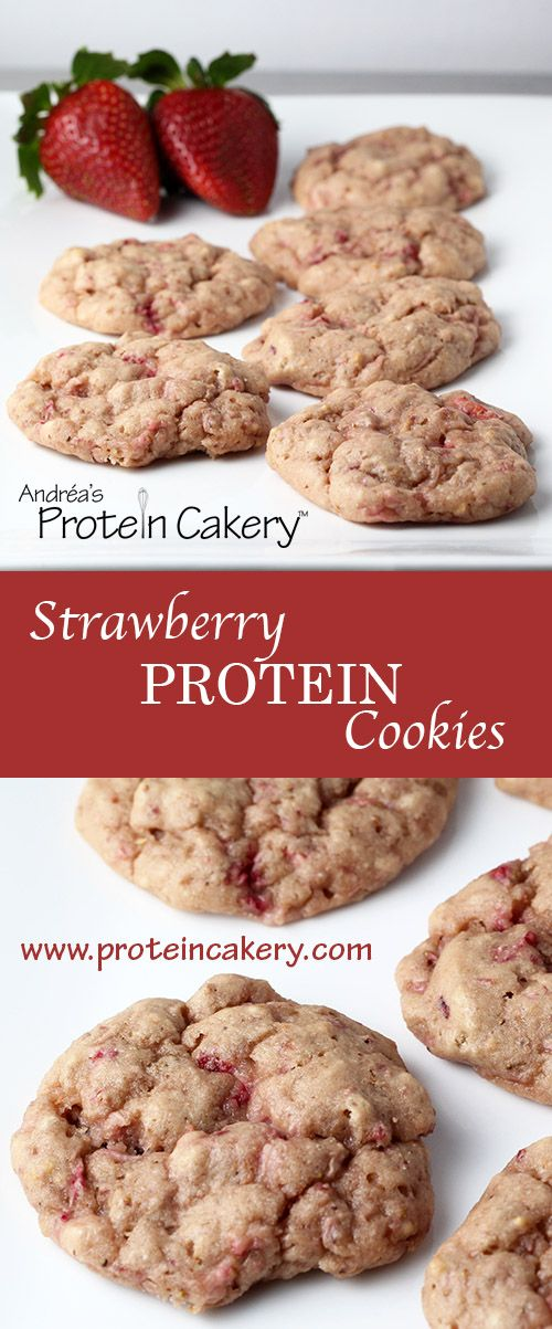 Prot: 6g, Carbs: 5g, Fat: 1g, Cal: 50 -- Easy and delicious gluten-free protein cookies! Very Strawberry Protein Cookies with only 4 ingredients! By Andréa's Protein Cakery.