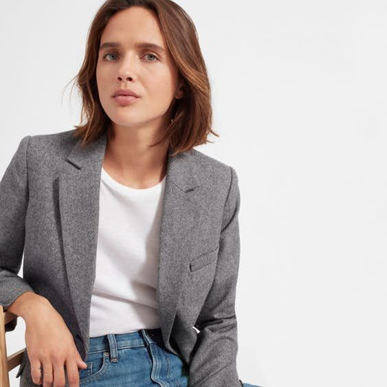 Cool sophistication. Made of Italian wool, this blazer has a menswear-inspired, oversized shape for a relaxed feel—plus, cuff buttons and flap pockets add a classic touch. Borrowing from the boys never looked so good.