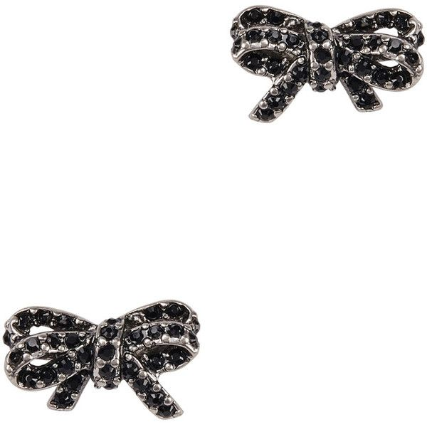 Marc Jacobs Crystal-embellished Silver Tone Bow Earrings (1,340 MXN) ❤ liked on Polyvore featuring jewelry, earrings, bow earrings, earring jewelry, silvertone earrings, post back earrings and marc jacobs jewellery